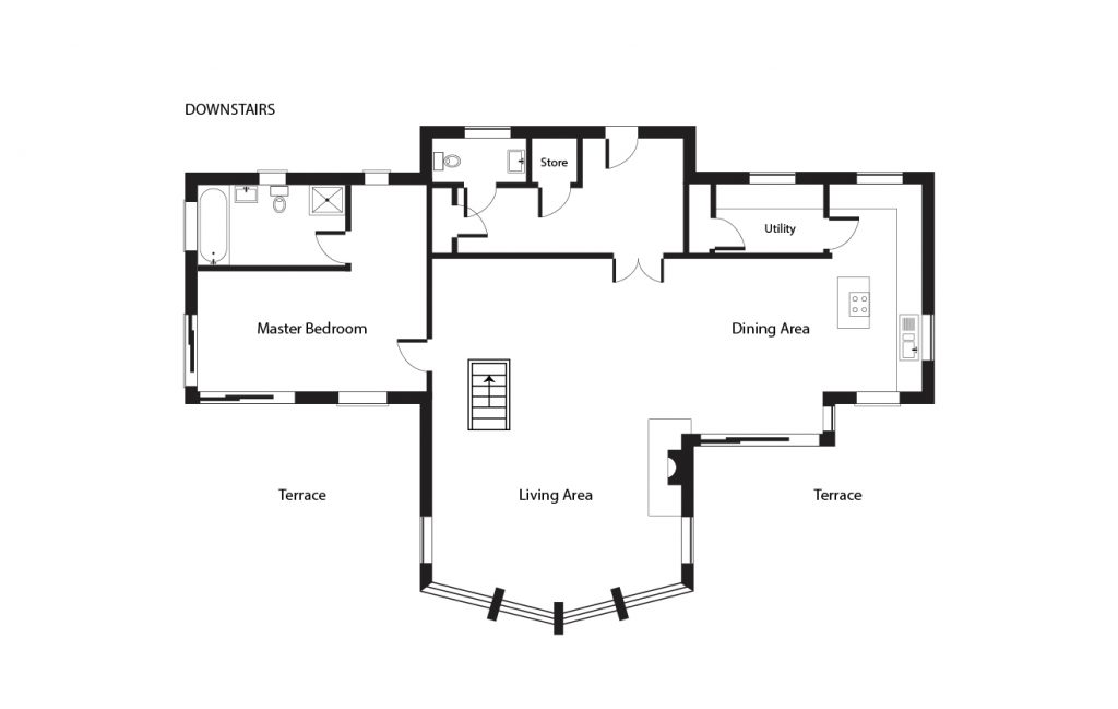 Aspen Lodge - downstairs floorpan