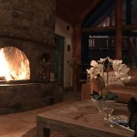 Aspen Lodge Stone Fireplace